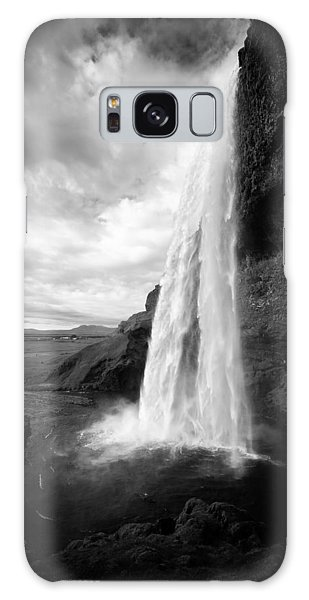 Galaxy Case featuring the photograph Waterfall In Iceland Black And White by Matthias Hauser