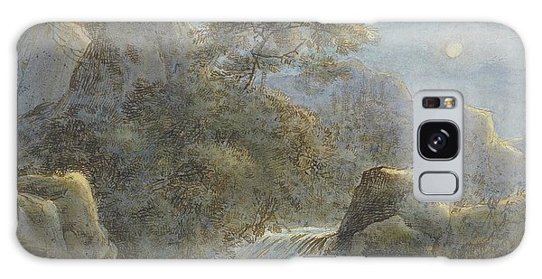 Waterfall Galaxy Case - Waterfall In The Mountains By Moonlight by Franz Kobell