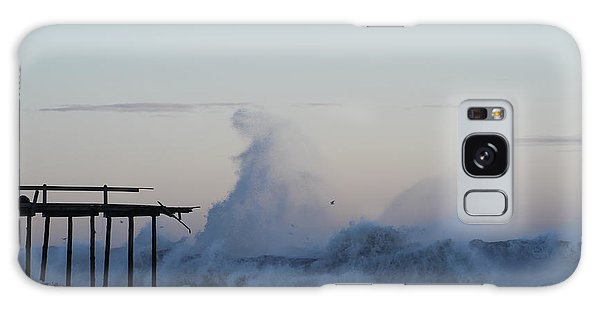 Wave Towers Over Oc Fishing Pier Galaxy Case