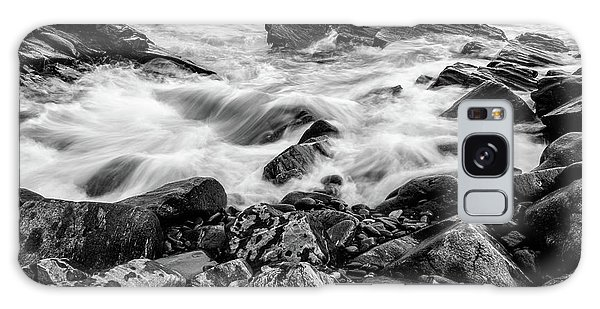 Waves Against A Rocky Shore In Bw Galaxy Case