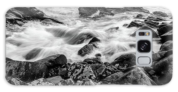Galaxy Case featuring the photograph Waves Against A Rocky Shore In Bw by Doug Camara
