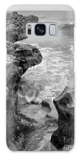 Waves And Coquina Rocks, Jupiter, Florida #39358-bw Galaxy Case