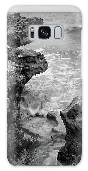 Waves And Coquina Rocks, Jupiter, Florida #39358-bw Galaxy Case