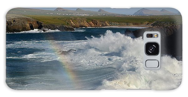 Waves And Rainbow At Clogher Galaxy Case