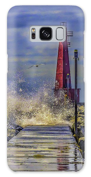Waves At Muskegon South Breakwater Galaxy Case