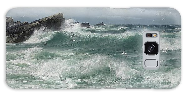 Breaking Dawn Galaxy Case - Waves Breaking On A Rocky Coast by Celestial Images