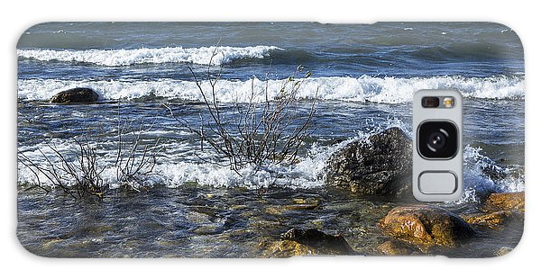 Waves Crashing Ashore At Northport Point On Lake Michigan Galaxy Case