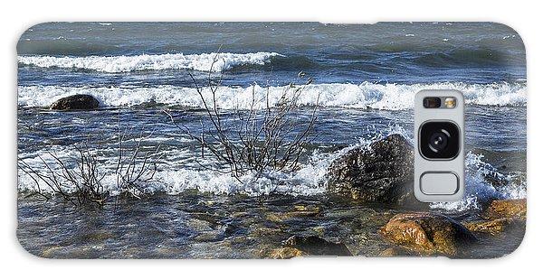Waves Crashing Ashore At Northport Point On Lake Michigan Galaxy Case