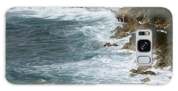 Waves Lashing Rocks Galaxy Case by Margaret Brooks