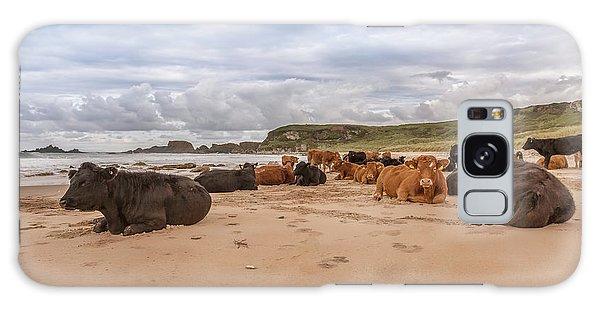 We Moo Like To Be Beside The Seaside Galaxy Case by Roy McPeak