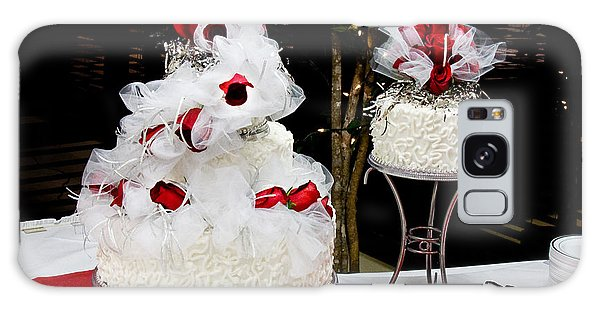 Wedding Cake And Red Roses Galaxy Case by Andee Design