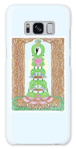 Wedding Cake With Doves Customize It With Names Of Bride And Groom Galaxy Case