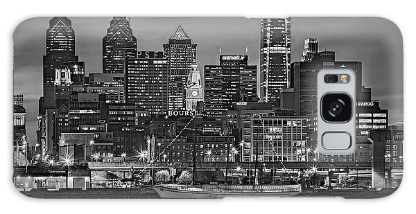 Galaxy Case featuring the photograph Welcome To Penn's Landing Bw by Susan Candelario