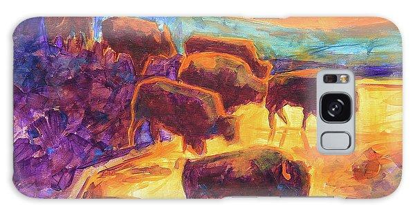 Western Buffalo Art Bison Creek Sunset Reflections Painting T Bertram Poole Galaxy Case