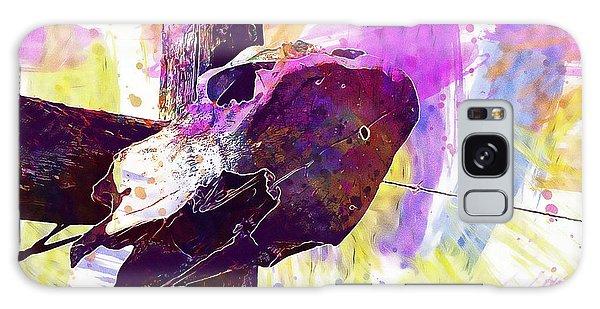 Galaxy Case featuring the digital art Western Skull Farm Trophy Skeleton  by PixBreak Art