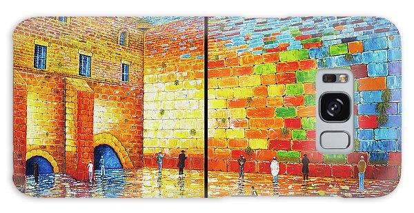 Western Wall Jerusalem Wailing Wall Acrylic Painting 2 Panels Galaxy Case
