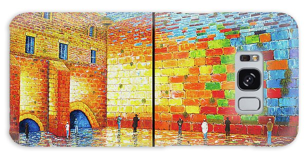 Western Wall Jerusalem Wailing Wall Acrylic Painting 2 Panels Galaxy Case