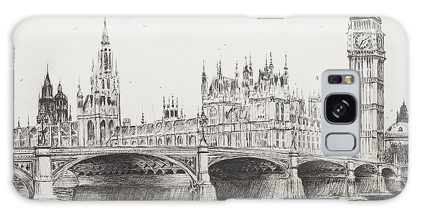 Pen And Ink Drawing Galaxy Case - Westminster Bridge by Vincent Alexander Booth