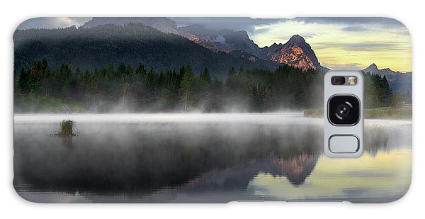Wetterstein Mountain Reflection During Autumn Day With Morning Fog Over Geroldsee Lake, Bavarian Alps, Bavaria, Germany. Galaxy Case