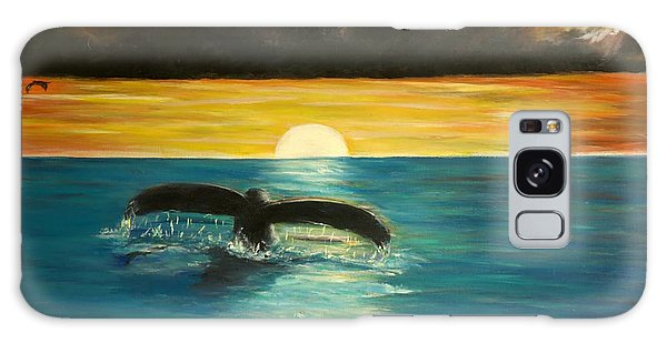 Whale Tail At Sunset  Galaxy Case