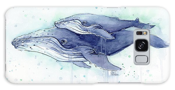 Whales Humpback Watercolor Mom And Baby Galaxy Case