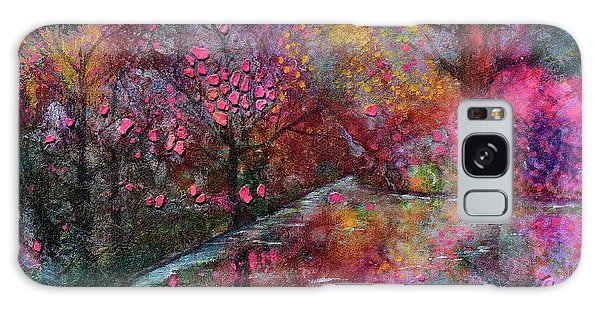 When Cherry Blossoms Fall Galaxy Case by Donna Blackhall