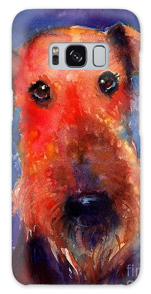 Whimsical Airedale Dog Painting Galaxy Case