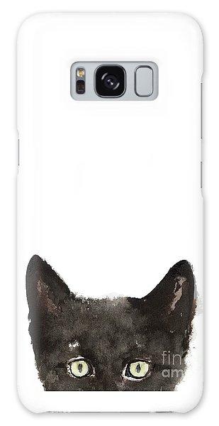 Whimsical Cat Poster, Funny Animal Black Cat Drawing, Peeking Cat Art Print, Animals Painting Galaxy Case