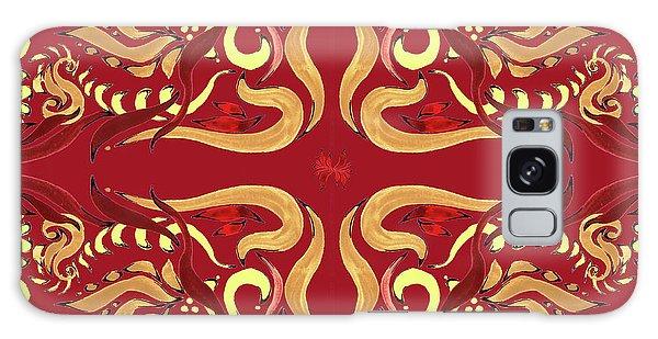 Wall Paper Galaxy Case - Whimsical Organic Pattern In Yellow And Red I by Irina Sztukowski