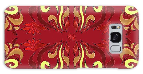 Wall Paper Galaxy Case - Whimsical Organic Pattern In Yellow And Red II by Irina Sztukowski
