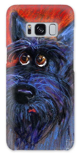 whimsical Schnauzer dog painting Galaxy Case