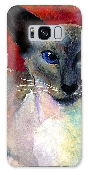 Watercolor Pet Portraits Galaxy Case - Whimsical Siamese Cat Painting by Svetlana Novikova