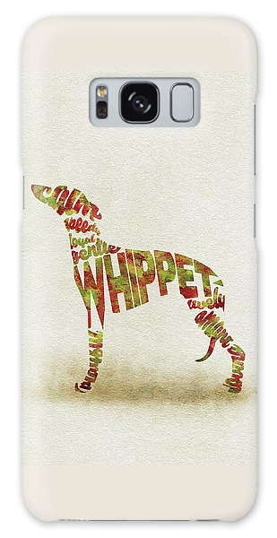 Galaxy Case featuring the painting Whippet Watercolor Painting / Typographic Art by Inspirowl Design