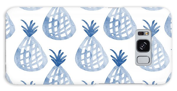 Gardens Galaxy Case - White And Blue Pineapple Party by Linda Woods