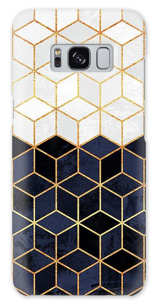 Galaxy Case - White And Navy Cubes by Elisabeth Fredriksson
