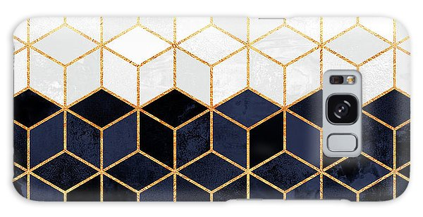 Stone Galaxy Case - White And Navy Cubes by Elisabeth Fredriksson