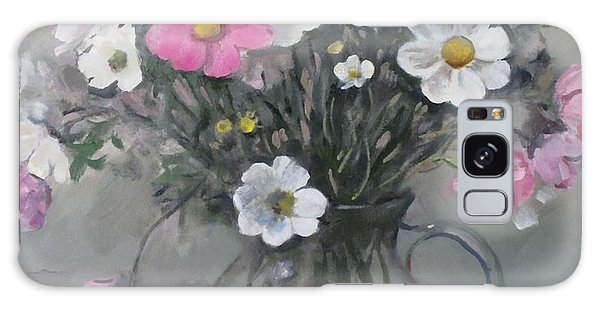 White And Pink Cosmos Bouquet In Water Pitcher No. 2 Galaxy Case