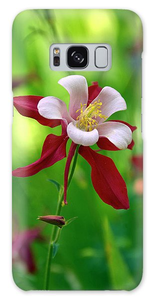 White And Red Columbine  Galaxy Case