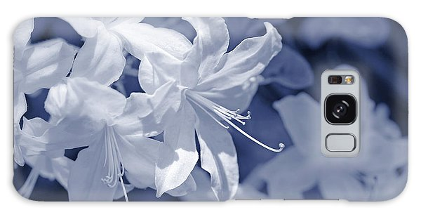 Galaxy Case featuring the photograph White Azalea Flowers Blues by Jennie Marie Schell