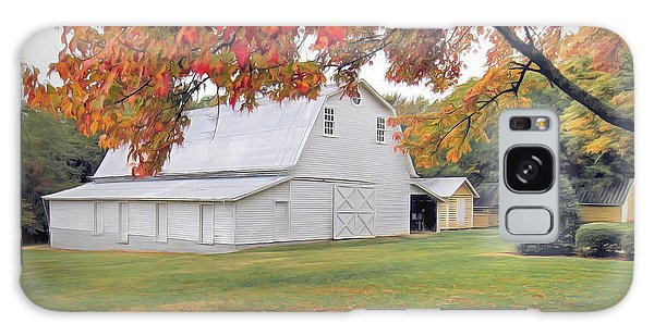 White Barn In Autumn Galaxy Case