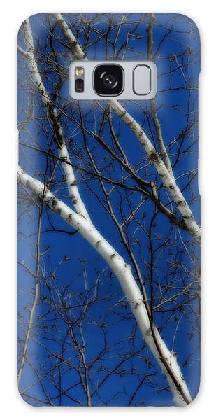 White Birch Blue Sky Galaxy Case