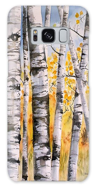 White Birch Meadow Galaxy Case