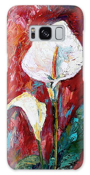 White Calla Lilies Oil Painting Galaxy Case by Ginette Callaway