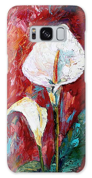White Calla Lilies Oil Painting Galaxy Case