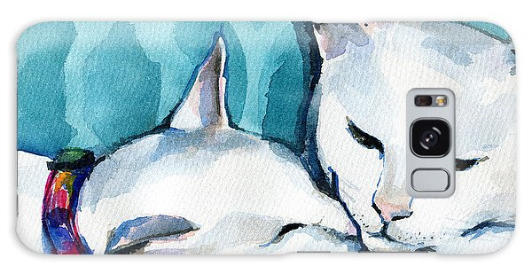 White Cat Affection Galaxy Case