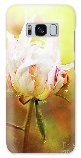 White Chinese Peony Laden With Raindrops Galaxy Case