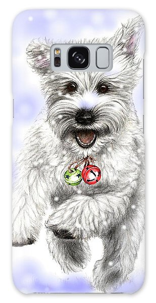 White Christmas Doggy Galaxy Case by Heidi Kriel