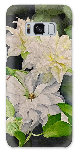 David Hoque Galaxy Case - White Clematis by David Hoque