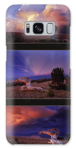 Mountain Sunset Galaxy S8 Case - White Clouds Triptych by Leland D Howard