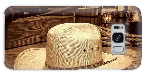 White Cowboy Hat In A Barn Galaxy Case